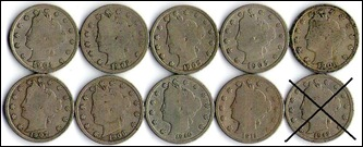 USA 1900s Liberty Nickels 10 different